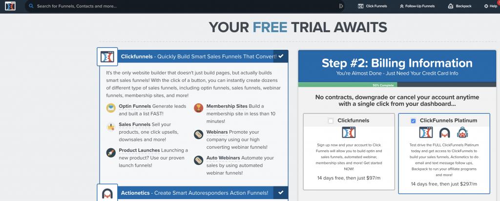 ClickFunnels propose une période d'essai gratuite