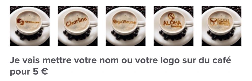 5Euros, votre nom dans un café
