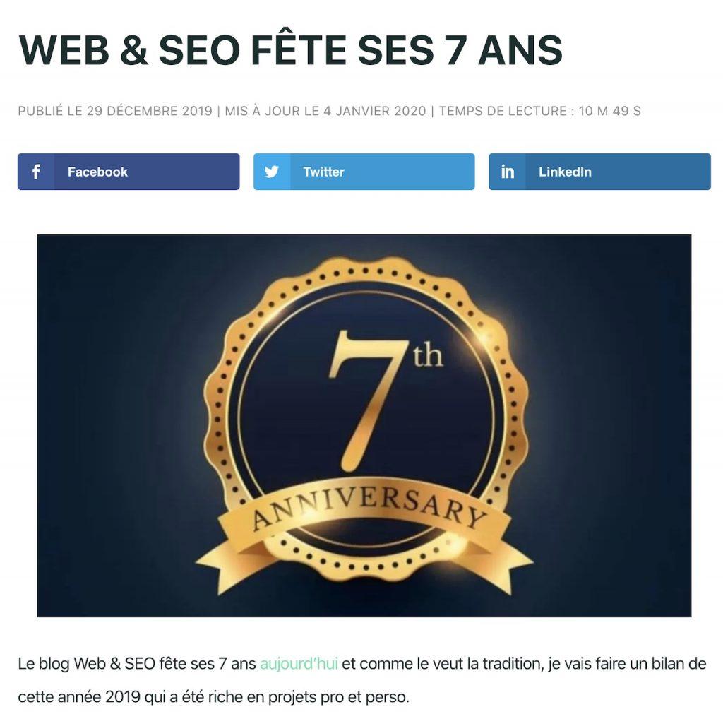 Web et SEO fête ses 7 ans